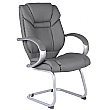 Fiji Leather Faced Visitor Chair - Grey