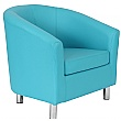 Collage Vinyl Tub Chairs -Metal Legs - Light Blue