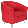 Collage Vinyl Tub Chairs With Metal Legs - Red