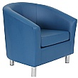 Collage Vinyl Tub Chairs With Metal Legs - Blue