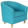 Collage Vinyl Tub Chairs- Wooden Legs - Light Blue