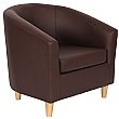 Collage Vinyl Tub Chairs- Wooden Legs - Brown
