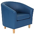 Collage Vinyl Tub Chairs- Wooden Legs - Blue