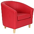 Collage Vinyl Tub Chairs With Wooden Legs - Red