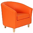 Collage Vinyl Tub Chairs With Wooden Legs - Orange