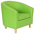 Collage Vinyl Tub Chairs With Wooden Legs - Lime