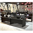 NEXT DAY Eclipse Black Rectangular Panel End Desks With Double Fixed Pedestals