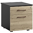 Noir 2 Drawer Low Mobile Pedestal