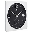 Alba Square Wall Clock With Thermometer