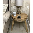 Pacific Round Lamp Table With Smart Charging and Bluetooth Speakers