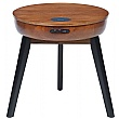 Lawrence Round Lamp Table With Smart Charging and Bluetooth Speakers
