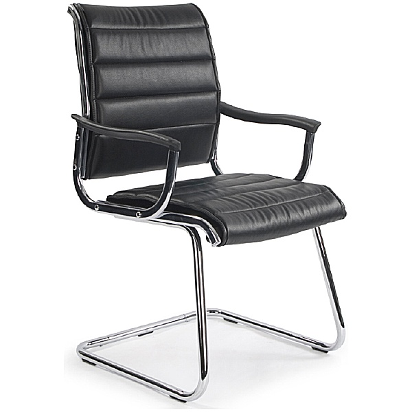 Black Lisbon Leather Look Visitor Chair