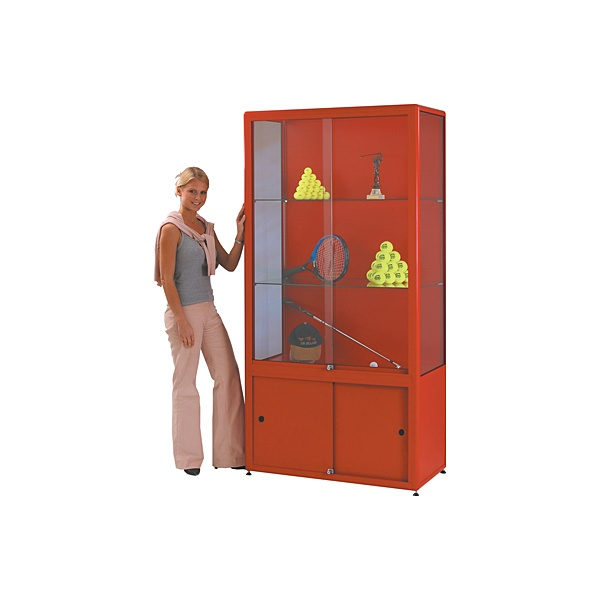 Shield Tower Display Cabinet With Cupboard