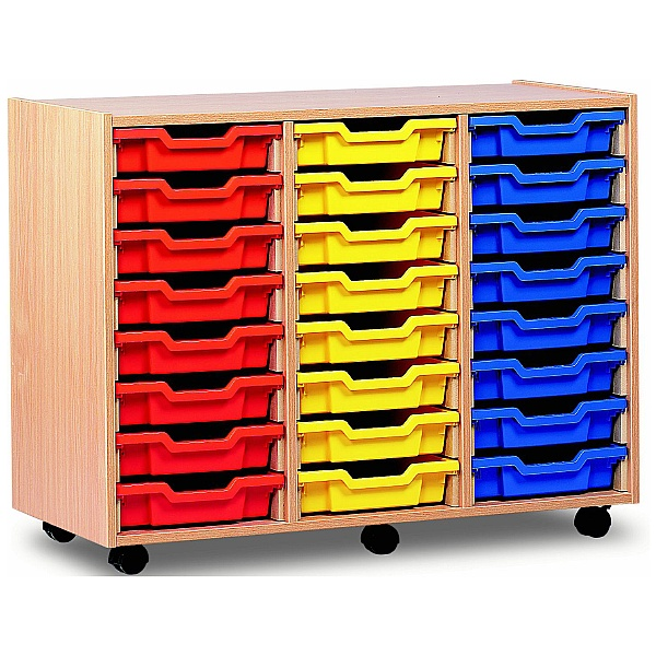 24 Tray Shallow Storage Red Yellow Blue