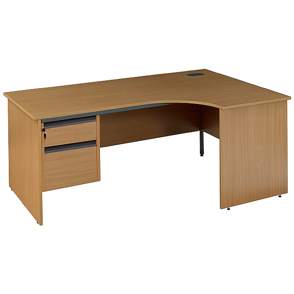 Ergonomic Panel End Desk With Fixed Pedestal