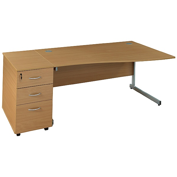 Wave Desks With Desk High Pedestal