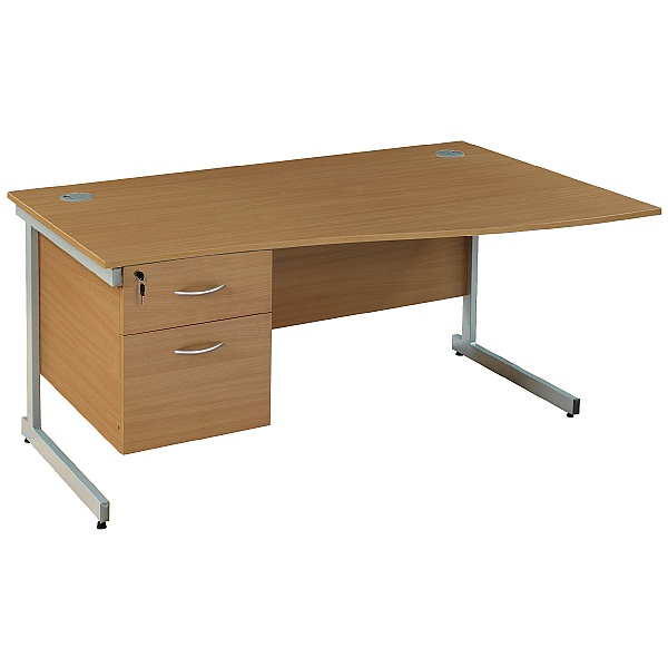 Wave Desks With Single Fixed Pedestal