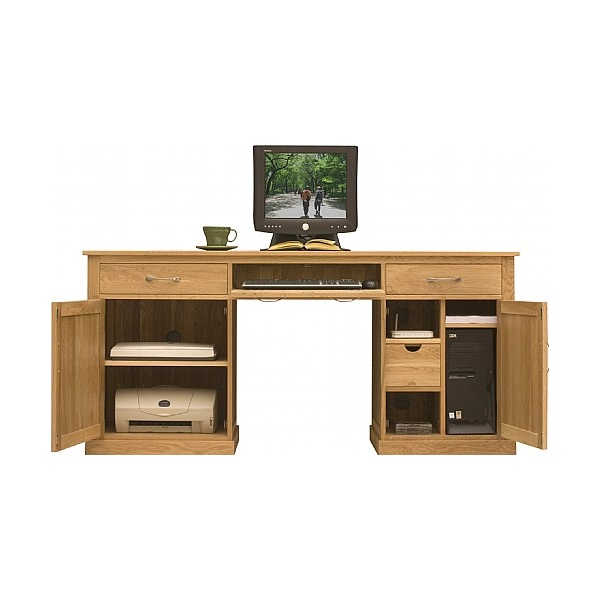 Solid Oak Executive Computer Desk