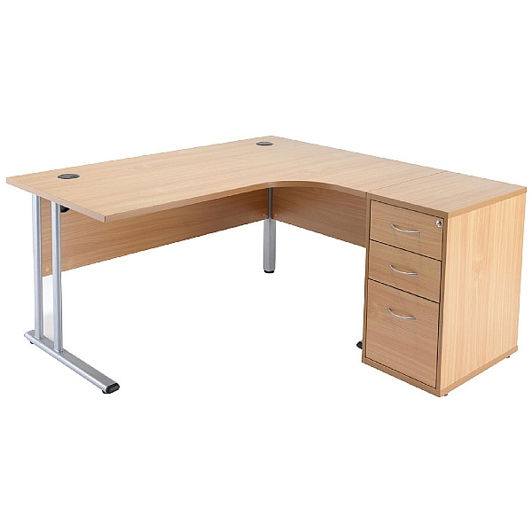 NEXT DAY Direct Ergonomic Desk With Desk High Ped