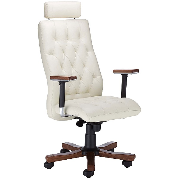 Chester Executive Leather Wood Chair With Headrest