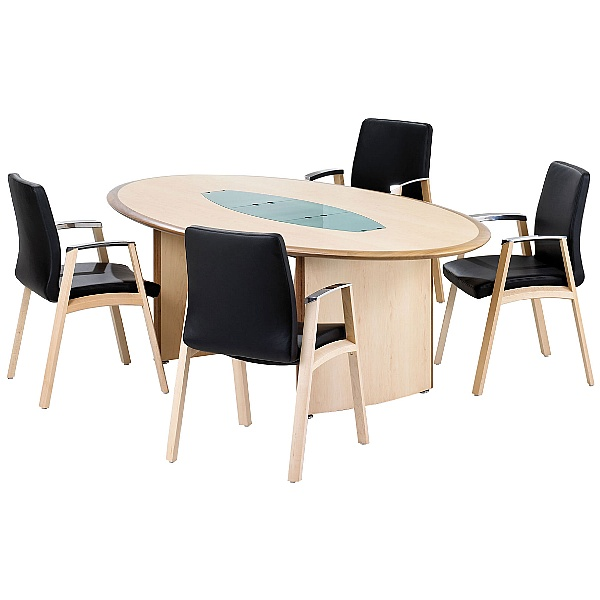 Maple Veneer Oval Boardroom Table With Natural Wal