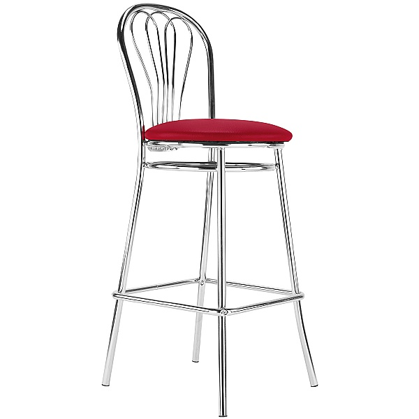 Venus Hocker Faux Leather Bar Stool - Red