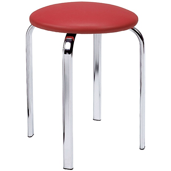 Zeppo Faux Leather Stool - Red