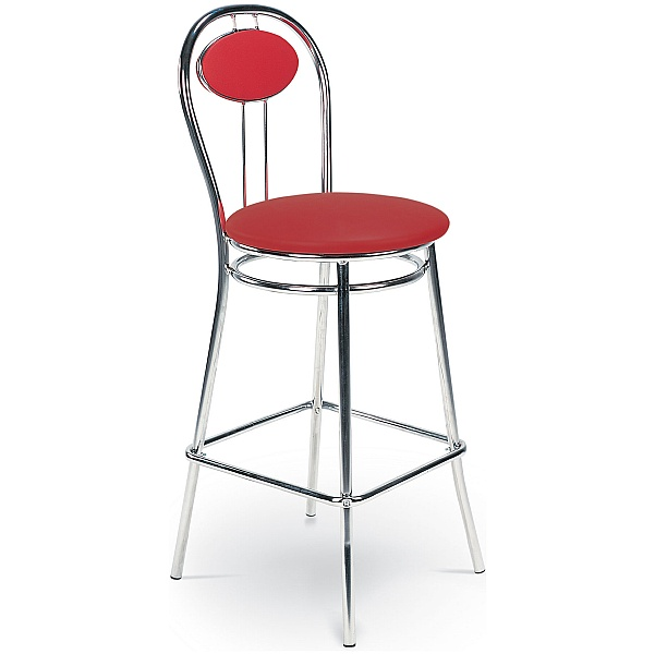 Tiziano Hocker Faux Velvet Bar Stool - Red