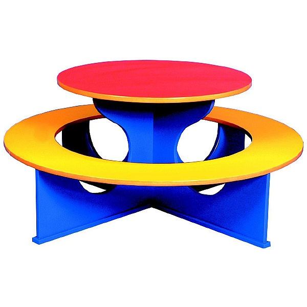 Circular Rainbow Bench Table