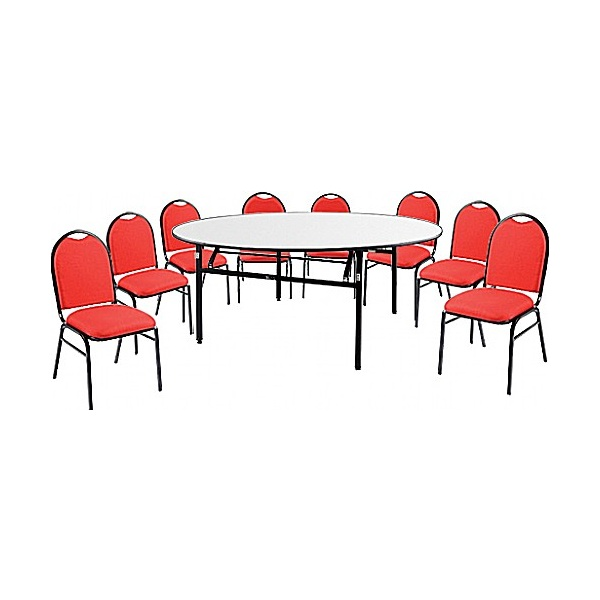 5ft Round Soft Top Table & 8 Grosvenor Chairs