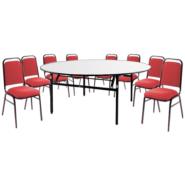 6ft Round Soft Top Table & 8 Mayfair Chairs
