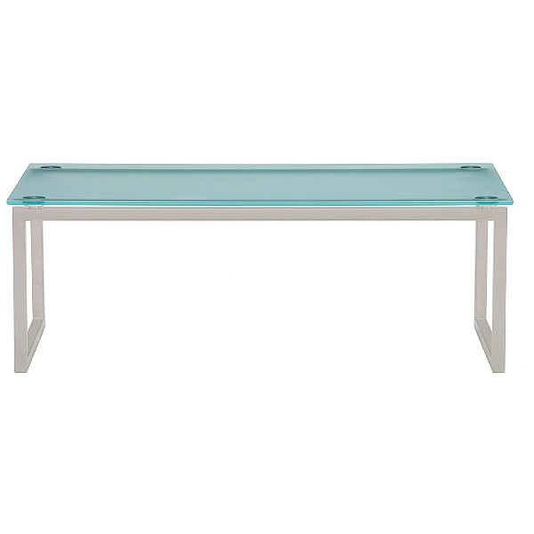 Pledge Hub Frosted Glass Table Satin Silver Frame