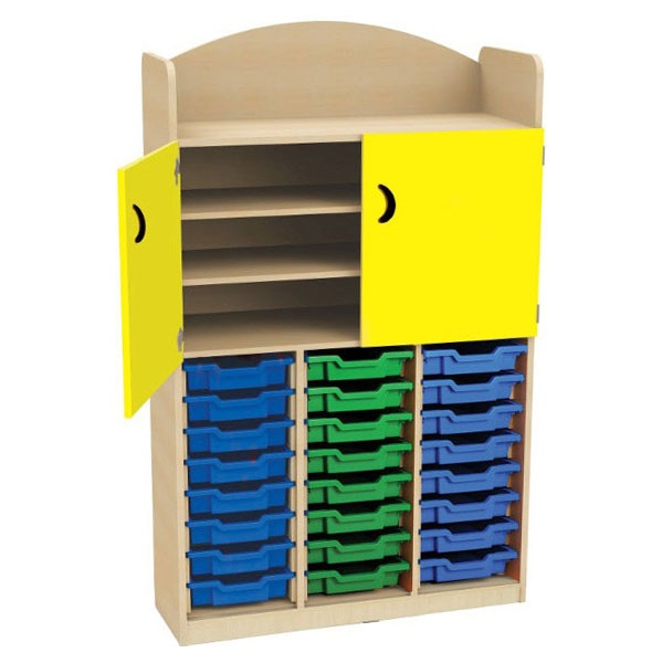 Stretton 24 Tray Triple Bay Storage Unit With Cupb
