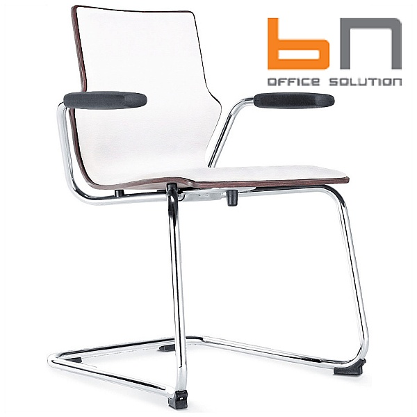 BN Leather Padded Wooden Cantilever Conversa Chair