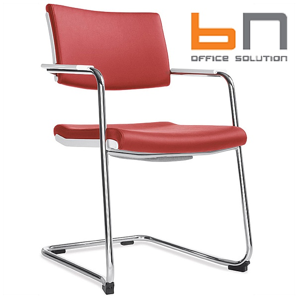 BN Belite Leather Cantilever Conference Chair Red
