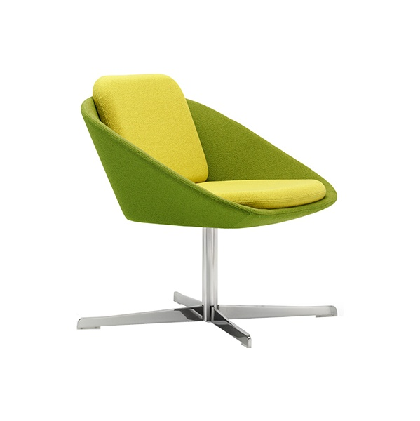 Dishy Low Back Swivel Reception Chair Chrome Frame