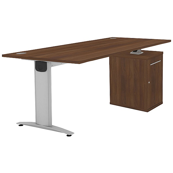 Protocol iBeam Rectangular Desk With Cupboard Pede