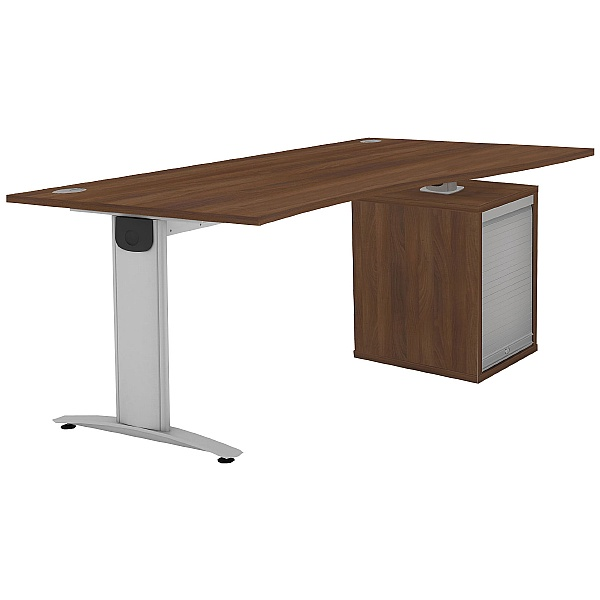 Protocol iBeam Wave Desk With Tambour Pedestal