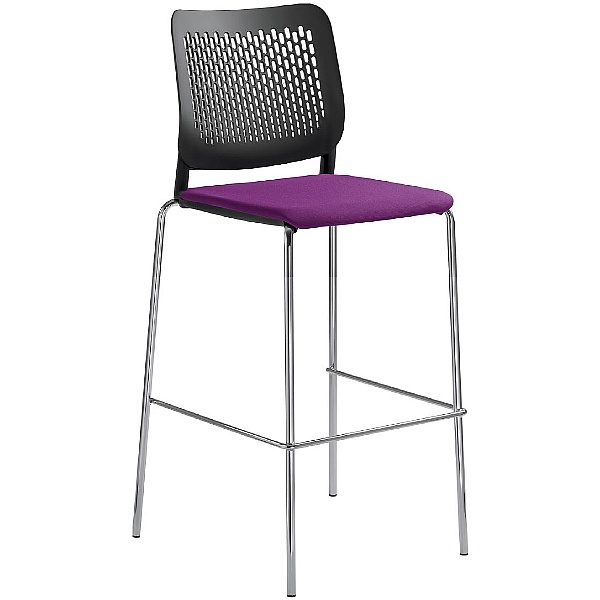 Time Fabric Padded Plastic Tall Bistro Stools
