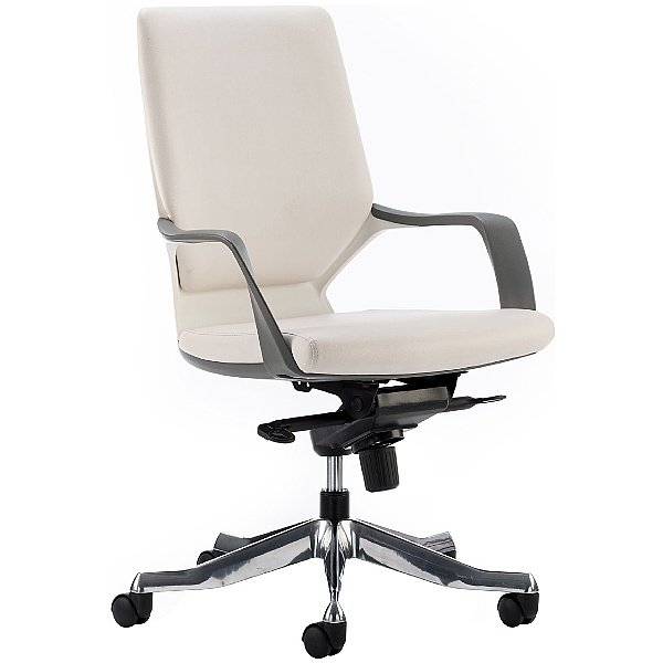 Profi Leather Faced Medium Back Office Chair White
