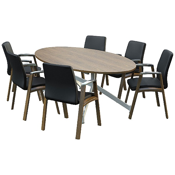 Sven Ambus Veneer Oval V-Base Meeting Tables