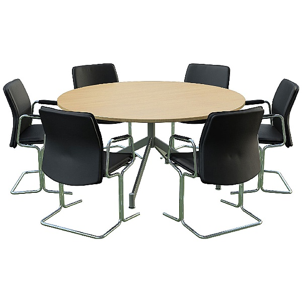 Sven Ambus Circular V-Base Oak Meeting Table