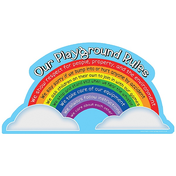 Rainbow Playground Rules School Sign