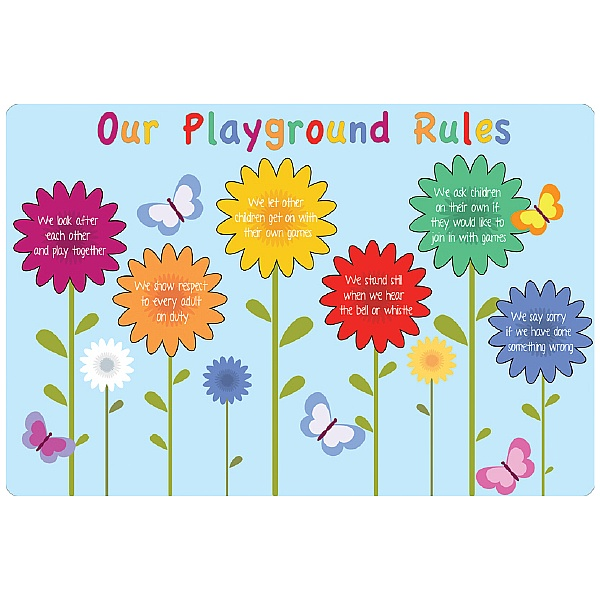 Flowers Playground Rules School Sign
