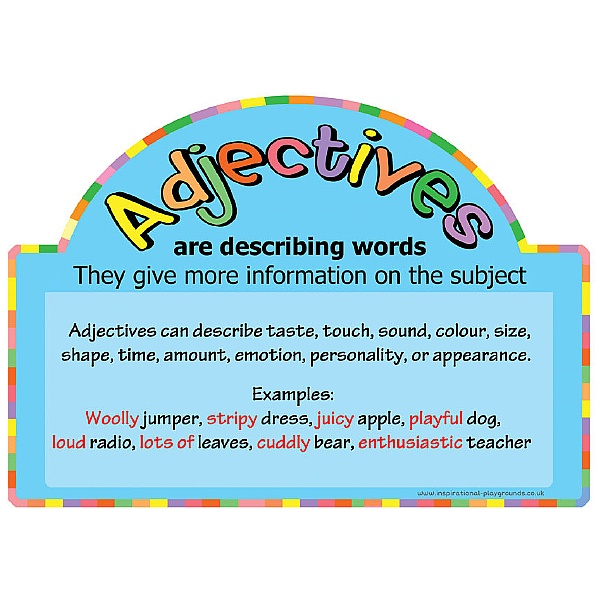 Literacy Basics Adjectives Sign