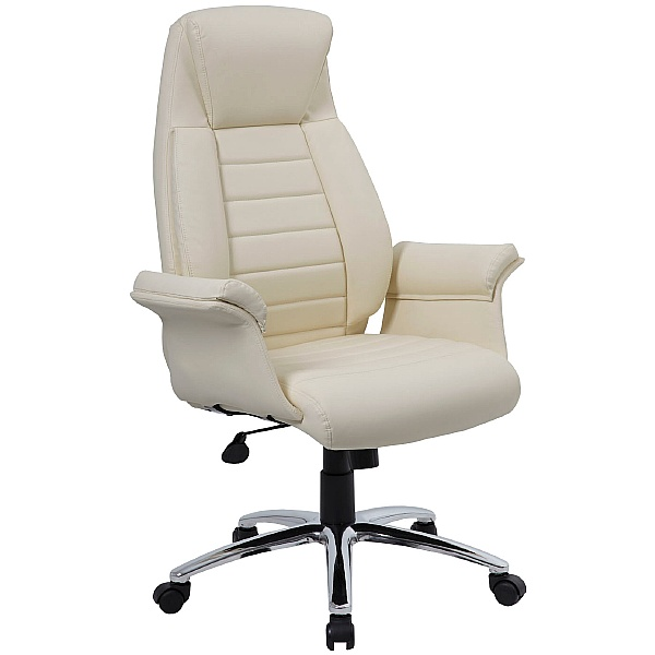 Jersey Cream Leather Faced Office Chairs