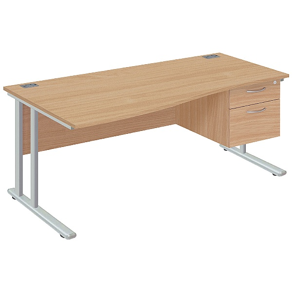 Commerce II Deluxe Wave Office Desks With Fixed Pedestal