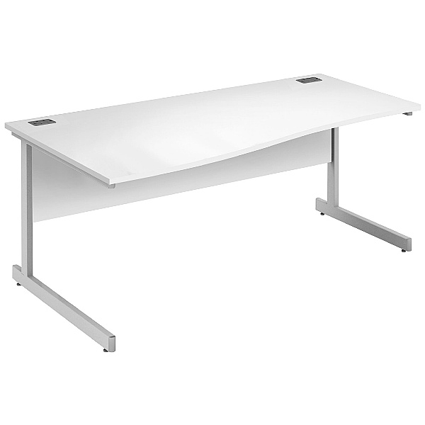 Commerce II White Wave Office Desks