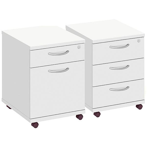 Commerce II White Low Mobile Pedestals