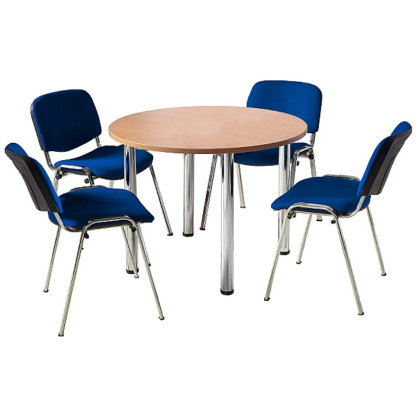 NEXT DAY Unite II Tubular Leg Bundle Deal - Round Meeting Table With 4 Chairs